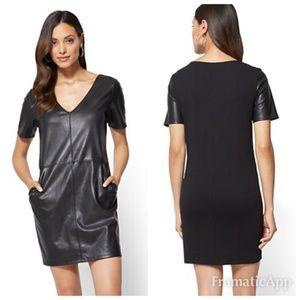 NWT Soho NY&C Black Faux Leather Dress SZ S